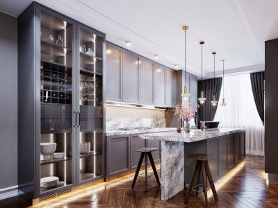 elegancka kuchnia z drewnianą podłogą